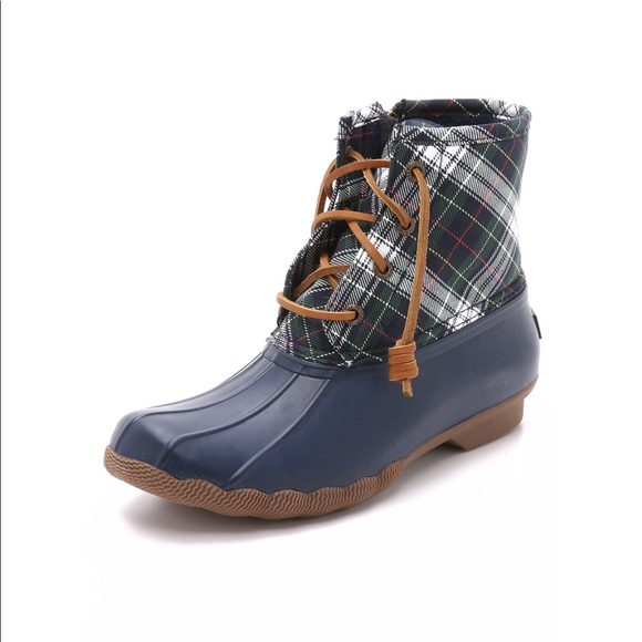 eab26688d Sperry Shoes | Topsider Saltwater Plaid Duck Boots Navy | Poshmark